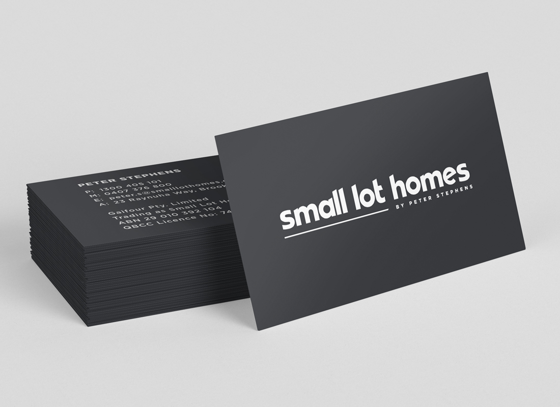 Small Lot Homes, Graphic Design Brisbane, Business Cards, Creative Curiosity, Graphic Design Brisbane
