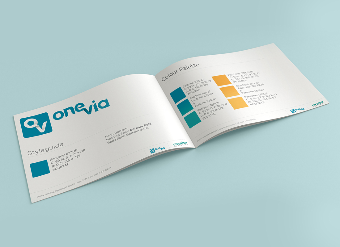 OneVia, Brand Styleguide, Graphic Design Brisbane, Creative Curiosity